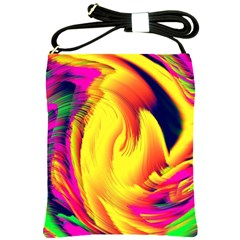 Stormy Yellow Wave Abstract Paintwork Shoulder Sling Bags