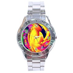Stormy Yellow Wave Abstract Paintwork Stainless Steel Analogue Watch