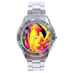 Stormy Yellow Wave Abstract Paintwork Stainless Steel Analogue Watch Front