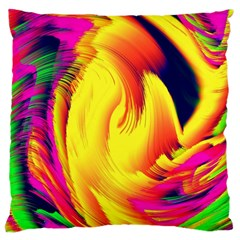 Stormy Yellow Wave Abstract Paintwork Large Cushion Case (one Side) by Simbadda