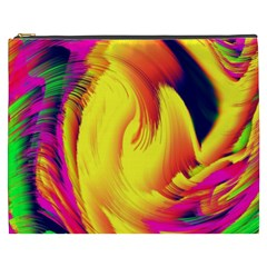 Stormy Yellow Wave Abstract Paintwork Cosmetic Bag (xxxl)  by Simbadda