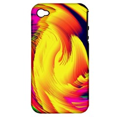 Stormy Yellow Wave Abstract Paintwork Apple Iphone 4/4s Hardshell Case (pc+silicone) by Simbadda