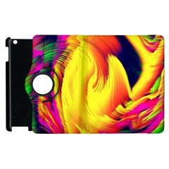 Stormy Yellow Wave Abstract Paintwork Apple Ipad 2 Flip 360 Case by Simbadda