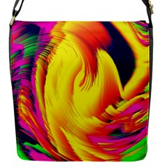 Stormy Yellow Wave Abstract Paintwork Flap Messenger Bag (s) by Simbadda