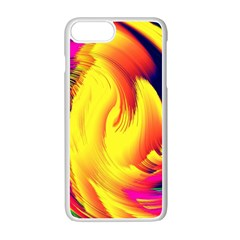 Stormy Yellow Wave Abstract Paintwork Apple Iphone 7 Plus White Seamless Case