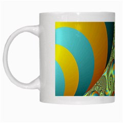 Gold Blue Fractal Worms Background White Mugs by Simbadda