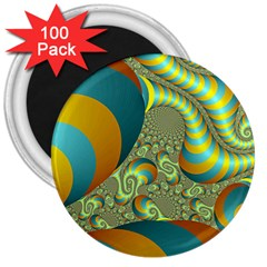 Gold Blue Fractal Worms Background 3  Magnets (100 Pack) by Simbadda