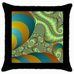 Gold Blue Fractal Worms Background Throw Pillow Case (black) by Simbadda