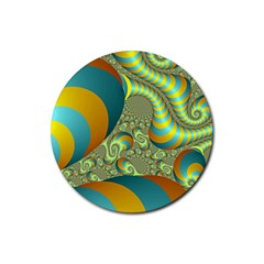 Gold Blue Fractal Worms Background Rubber Coaster (round)  by Simbadda