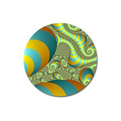 Gold Blue Fractal Worms Background Magnet 3  (round)