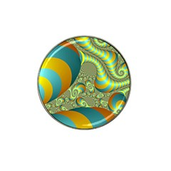 Gold Blue Fractal Worms Background Hat Clip Ball Marker (10 Pack)