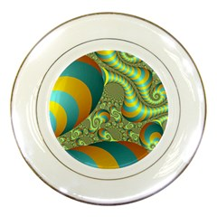 Gold Blue Fractal Worms Background Porcelain Plates by Simbadda