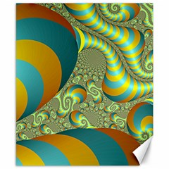 Gold Blue Fractal Worms Background Canvas 8  X 10