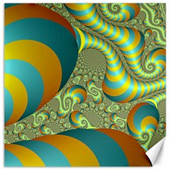 Gold Blue Fractal Worms Background Canvas 12  X 12   by Simbadda