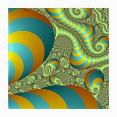 Gold Blue Fractal Worms Background Medium Glasses Cloth (2-side) by Simbadda