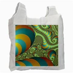 Gold Blue Fractal Worms Background Recycle Bag (one Side) by Simbadda