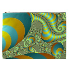 Gold Blue Fractal Worms Background Cosmetic Bag (xxl)