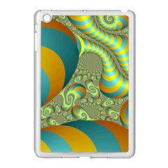 Gold Blue Fractal Worms Background Apple Ipad Mini Case (white) by Simbadda