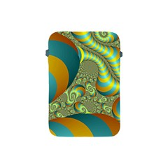 Gold Blue Fractal Worms Background Apple Ipad Mini Protective Soft Cases by Simbadda