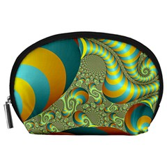 Gold Blue Fractal Worms Background Accessory Pouches (large)