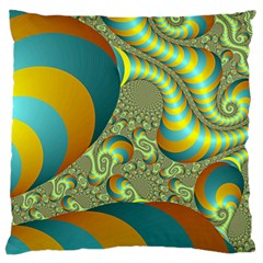 Gold Blue Fractal Worms Background Standard Flano Cushion Case (one Side) by Simbadda