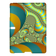 Gold Blue Fractal Worms Background Samsung Galaxy Tab S (10 5 ) Hardshell Case  by Simbadda