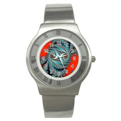 Digital Fractal Pattern Stainless Steel Watch by Simbadda