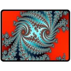 Digital Fractal Pattern Fleece Blanket (large)  by Simbadda