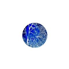 Winter Blue Moon Fractal Forest Background 1  Mini Buttons by Simbadda