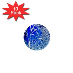 Winter Blue Moon Fractal Forest Background 1  Mini Magnet (10 Pack)  by Simbadda