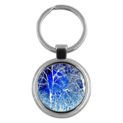 Winter Blue Moon Fractal Forest Background Key Chains (round)  by Simbadda