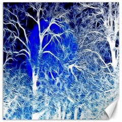 Winter Blue Moon Fractal Forest Background Canvas 16  X 16