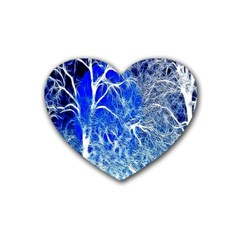 Winter Blue Moon Fractal Forest Background Rubber Coaster (heart)  by Simbadda