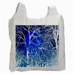 Winter Blue Moon Fractal Forest Background Recycle Bag (one Side) by Simbadda