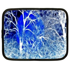 Winter Blue Moon Fractal Forest Background Netbook Case (xxl)  by Simbadda