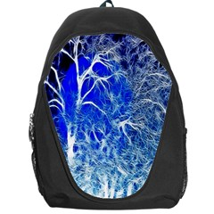 Winter Blue Moon Fractal Forest Background Backpack Bag by Simbadda