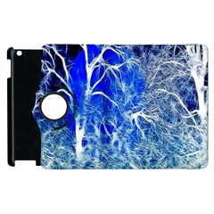 Winter Blue Moon Fractal Forest Background Apple Ipad 3/4 Flip 360 Case by Simbadda
