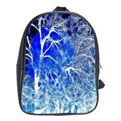 Winter Blue Moon Fractal Forest Background School Bags (xl)