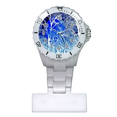 Winter Blue Moon Fractal Forest Background Plastic Nurses Watch