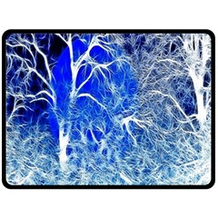 Winter Blue Moon Fractal Forest Background Double Sided Fleece Blanket (large)  by Simbadda