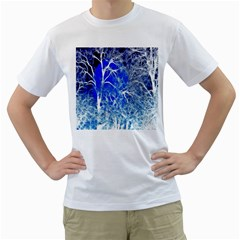 Winter Blue Moon Fractal Forest Background Men s T Shirt (white)