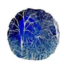Winter Blue Moon Fractal Forest Background Standard 15  Premium Flano Round Cushions by Simbadda