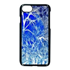 Winter Blue Moon Fractal Forest Background Apple Iphone 7 Seamless Case (black) by Simbadda
