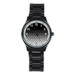 Halftone Gradient Pattern Stainless Steel Round Watch
