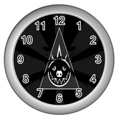 Abstract Pigs Triangle Wall Clocks (silver)  by Simbadda