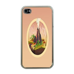 Digital Art Minimalism Nature Simple Background Palm Trees Volcano Eruption Lava Smoke Low Poly Circ Apple Iphone 4 Case (clear)