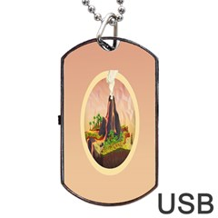 Digital Art Minimalism Nature Simple Background Palm Trees Volcano Eruption Lava Smoke Low Poly Circ Dog Tag Usb Flash (two Sides) by Simbadda