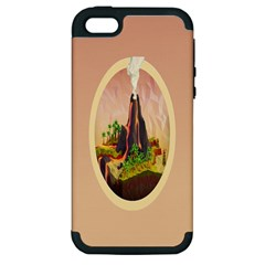 Digital Art Minimalism Nature Simple Background Palm Trees Volcano Eruption Lava Smoke Low Poly Circ Apple Iphone 5 Hardshell Case (pc+silicone)