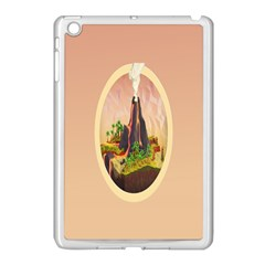 Digital Art Minimalism Nature Simple Background Palm Trees Volcano Eruption Lava Smoke Low Poly Circ Apple Ipad Mini Case (white) by Simbadda