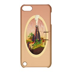 Digital Art Minimalism Nature Simple Background Palm Trees Volcano Eruption Lava Smoke Low Poly Circ Apple Ipod Touch 5 Hardshell Case With Stand by Simbadda